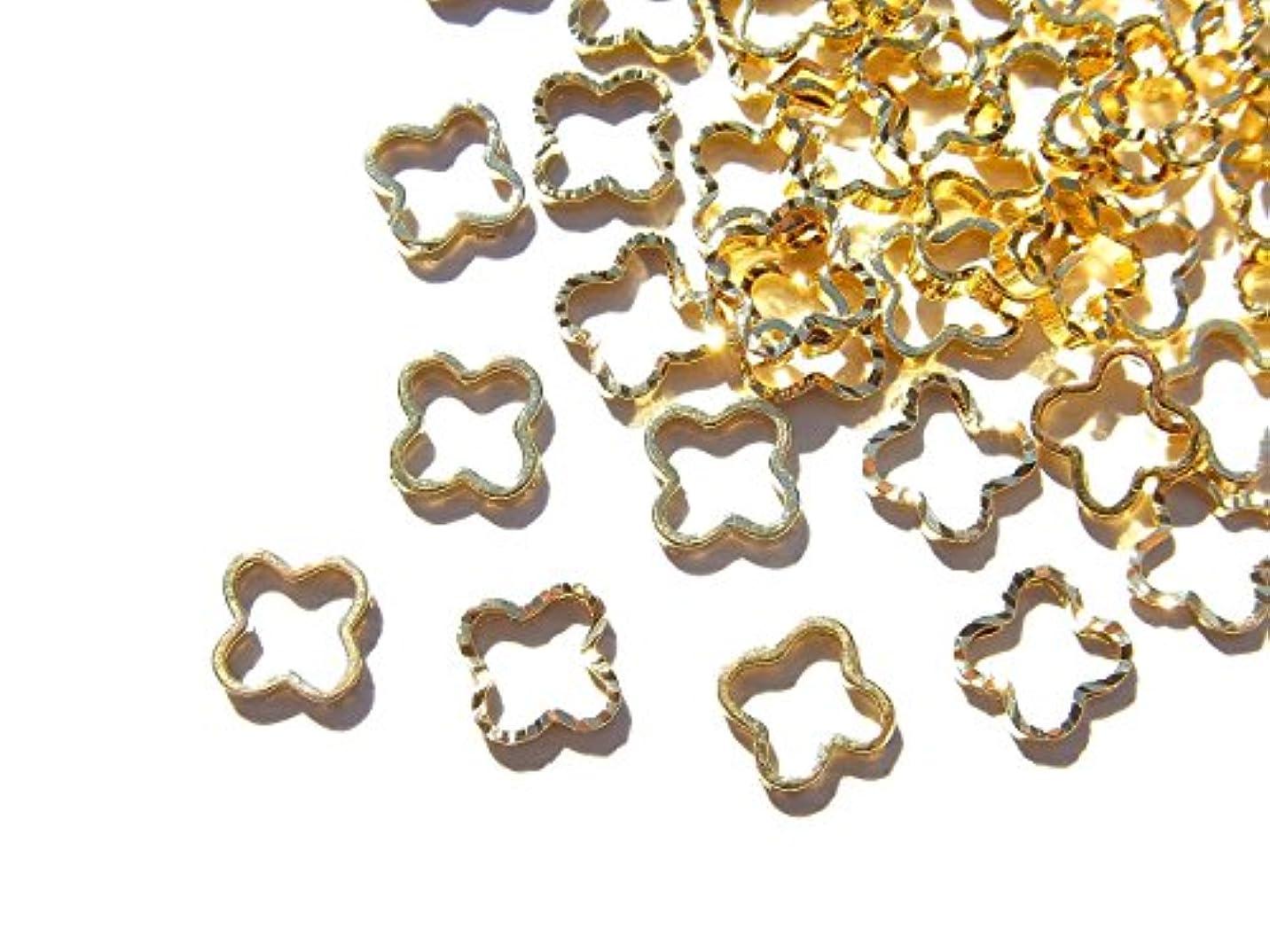 効果ゴム主【jewel】ゴールド 立体メタルパーツ 10個入り クローバー 型 直径6mm 厚み1mm 手芸 材料 レジン ネイルアート パーツ 素材