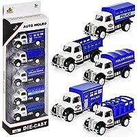 Aelove 男の子用 ミニ 教育玩具 トラック モデル玩具 車セット プッシュ&プルおもちゃ 5個パック 4 x 10.5 x 30cm ブルー ADVM033271_5*