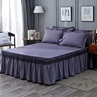 寝具セット3ピースフリルマットレスカバープリンセススタイルベッドスカートベッドシーツ無地ベッドカバーフラットシートツインクイーンキングサイズ (Color : 14, Size : 120x200cm Deep 40cm)