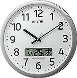 リズム時計 電波 掛け時計 アナログ デジタル プログラム カレンダー 01SR 【24回 プログラム チャイム 機能 】 オフィス タイプ 銀色 RHYTHM 4FNA01SR19