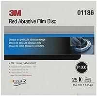 3M 1186 Red Abrasive Hookit Film Disc, 6 In. P1000, 25 Discs per Box