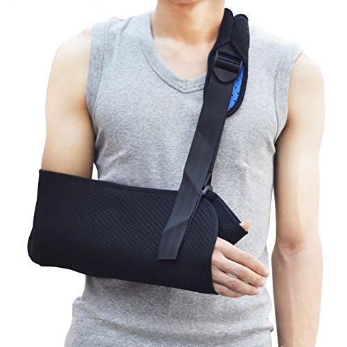 アームホルダー 腕つり用サポーター Vkaiy アームリーダー アームスリング 腕の骨折・脱臼時のギプス固定に 安定感 通気性抜群 調整可能 (ブラック)