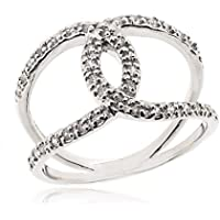 SOVATS CZ Cross Ring for Women 925 Sterling Silver Oxizidize Surface - Simple, Stylish &Trendy Nickel Free Ring