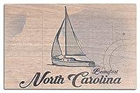 Beaufort、ノースカロライナ州–ヨット–ブルー–Coastalアイコン 10 x 15 Wood Sign LANT-71950-10x15W