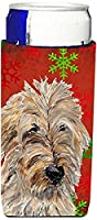 Golden Doodle 2レッドSnowflakes Holiday Ultra Beverage Insulators forスリム缶sc9763muk