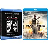 A Kidnapping & Drug Lord Double Feature American Gangster Denzel Washington Blu Ray Man on Fire Action Movie Set