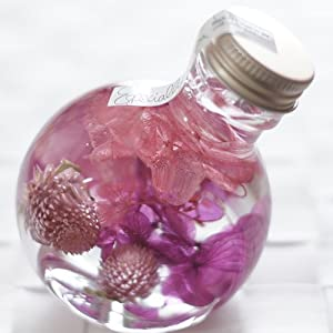 ハーバリウム 丸ボトル (ピンクパープル)