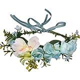 QXQTER Boho Flower Crown Hair Wreath Floral Garland Headband Halo Headpiece with Ribbon Wedding Festival Party