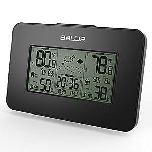 BALDR 液晶ウェザーステーション温度湿度計 インドアとアウトドア無線センサ天気予報クロック 温度湿度、時間、カレンダー、アラーム、スヌーズ、ブルーバックライト合一時計 (ブラック)