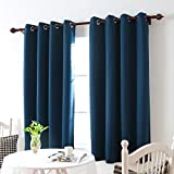 Deconovo Room Darkening Thermal Insulated Blackout Eyelet Window Curtain Panels for Bedroom Set of 2 Navy Blue 132x214 cm
