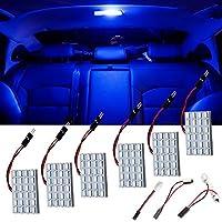 Ever-Bright ルームランプ LED 24SMD 5730 ドームライト 3種類のアダプター付き DC12V専用 ブルー 6個