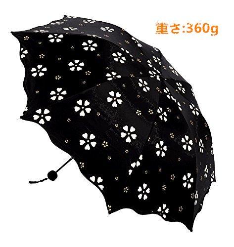 日傘 晴雨兼用 水に当てると花柄の色がすぐに変化する 折りたたみ傘 100%UVカット 軽量 耐風 撥水 8本骨(桜花爛漫系) (ブラック)