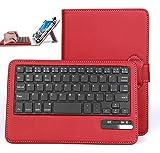 Asus ZenPad 8 Z380KL / Z380C/380M ケース,【IVSO】オリジナルAsus ZenPad 8 Z380KL / Z380C /旭エレクトロニクス AEC SG080i SG080iSL SG080iBK /Huawei Mediapad M2 7.0/ Huawei Mediapad T2 7.0 pro / Dragon Touch Y88X/Y88X Plus / Y88 / Q88/Dragon Touch S8/Huawei Mediapad M2 8.0/ Qua tab px/ ASUS ZenPad 8 2016/ ASUS Zenpad Z8キーボード (7-8インチのタブレットも適用) 開閉で自動的 PUレザーケース マグネット着脱可能 一体型Bluetoothワイヤレスキーボード(レッド)