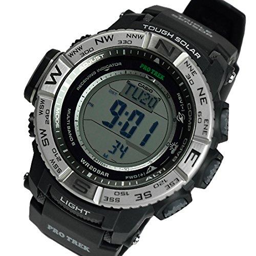 715027179c PRO TREK CASIO カシオ プロトレック メンズ 腕時計 トリプルセンサーVer.3 電波ソーラー PRW-3500-1DR  シルバー×ブラック 海外モデル 並行輸入品 [並行輸入品]