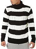 JIGGYS SHOP (ジギーズショップ) ニット セーター メンズ タートルネック ケーブル編み 厚手 長袖 防寒 ボーダー アメカジ S C ホワイト×ブラック