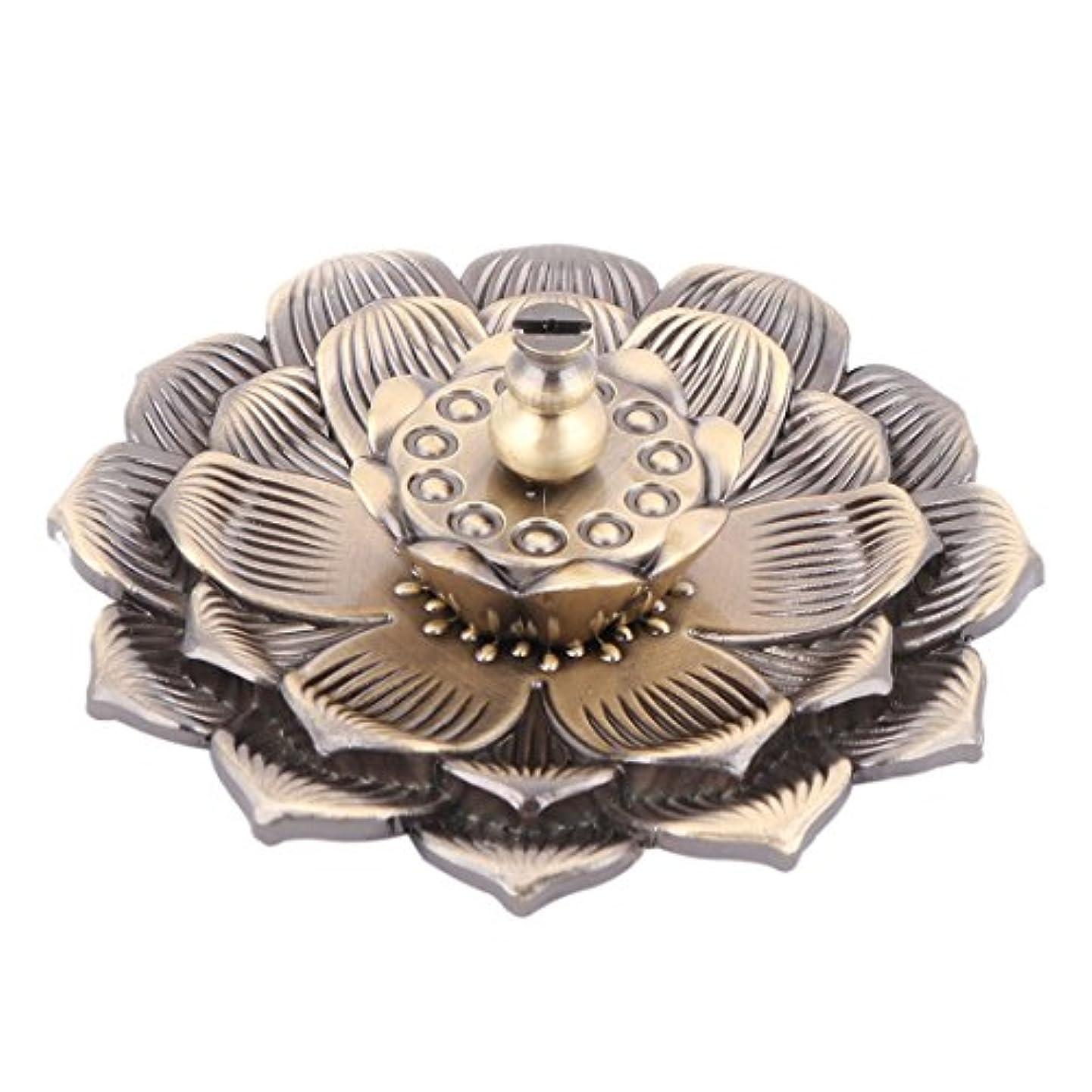 かどうかジェムカブuxcell 香炉ホルダー お香立て インセンスホルダー 蓮 ロータス 花型 セット 金属製 家庭用 直径10cm ブロンズ