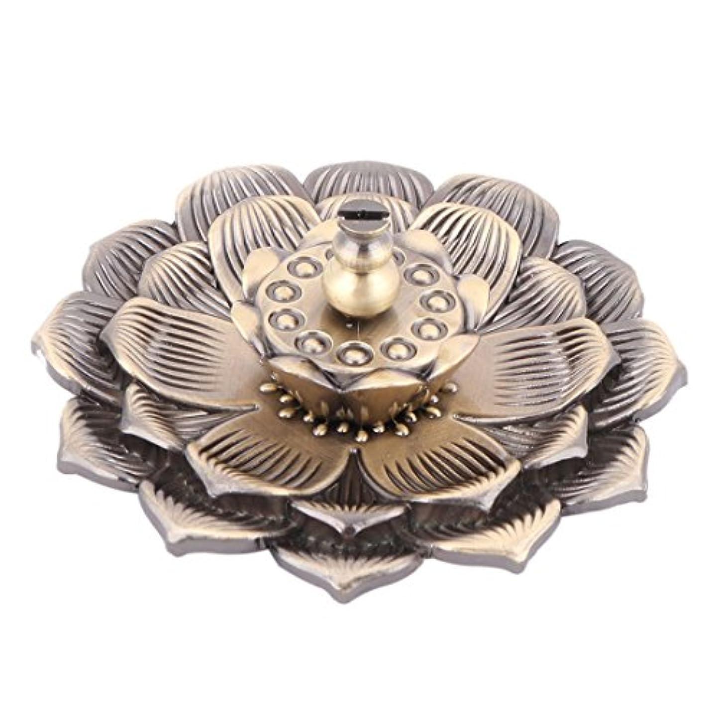 気まぐれな新鮮な擁するuxcell 香炉ホルダー お香立て インセンスホルダー 蓮 ロータス 花型 セット 金属製 家庭用 直径10cm ブロンズ