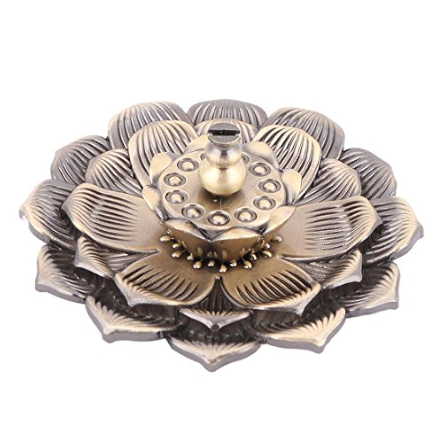 有力者過剰百uxcell 香炉ホルダー お香立て インセンスホルダー 蓮 ロータス 花型 セット 金属製 家庭用 直径10cm ブロンズ