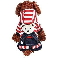 Plus Nao(プラスナオ) ペット用 犬用 洋服 ワンピース スカート ツナギ カバーオール ロンパース 半袖 重ね着風 スナップボタン フード付き
