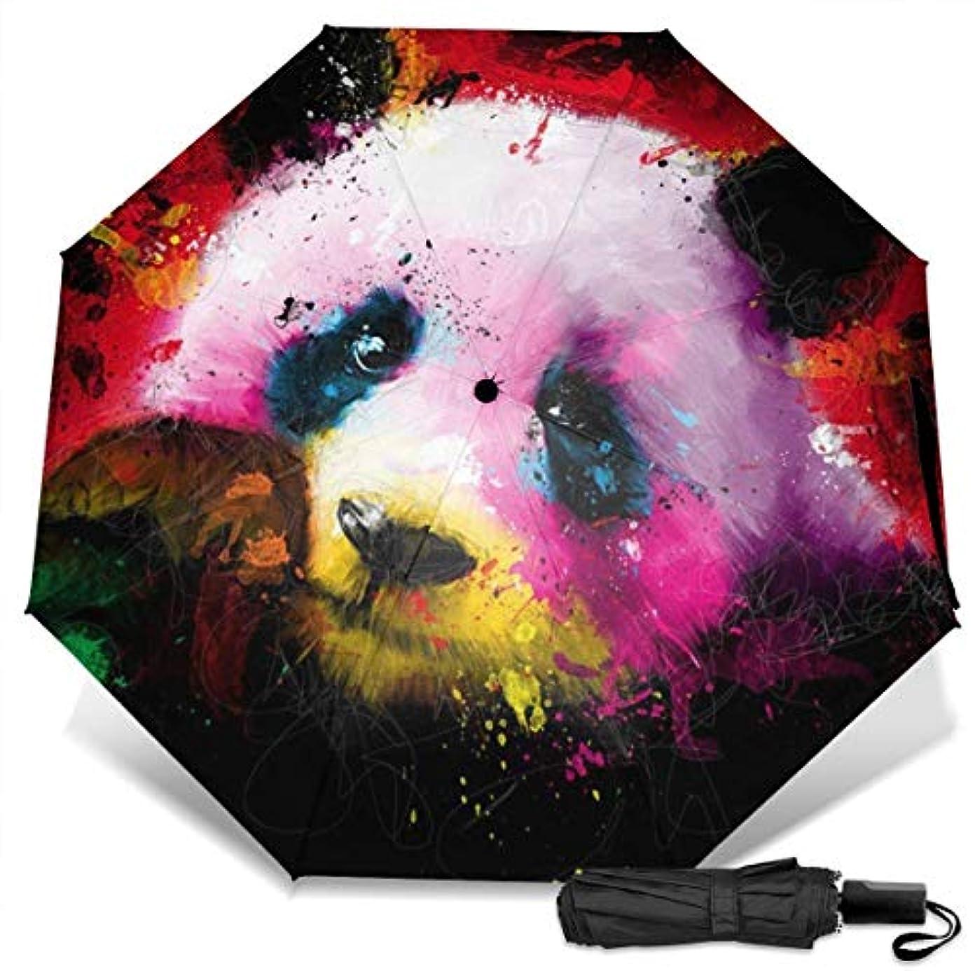 極小複数ハドルかわいいパンダのカラフルな絵折りたたみ傘 軽量 手動三つ折り傘 日傘 耐風撥水 晴雨兼用 遮光遮熱 紫外線対策 携帯用かさ 出張旅行通勤 女性と男性用 (黒ゴム)