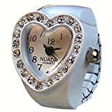 クロックス ガールズ (シャイニング ガールズ)shining girls レディース子供用指輪時計 キッズリングウォッチ 可愛いハート指輪  (ホワイト)
