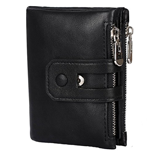 HollyRobin 二つ折り 財布 メンズ 本革 レザー ダブルジッパー ファスナー 小銭入れ カード入れ 16ヶ所 人気 ブラック