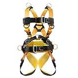Xbenフルハーネス ツリークライミングハーネス D環つき全方位保護安全ハーネス 登山用ハーネス ロッククライミング 男女兼用アウトドア 懸垂下降 落下防止 登攀訓練 高所作業用 全身ハーネス(イエロ-)