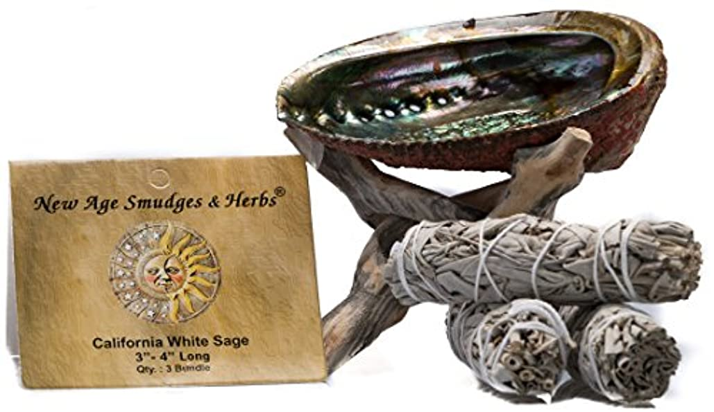 結び目サスペンション副産物スマッジングキット - カリフォルニアホワイトセージ スマッジワンド 3本 (サルビア?アピアナ) 美しい自然の5インチ - 6インチ アバロンシェル 天然木製コブラ三脚スタンド付き - セージスティックの長さは4インチ