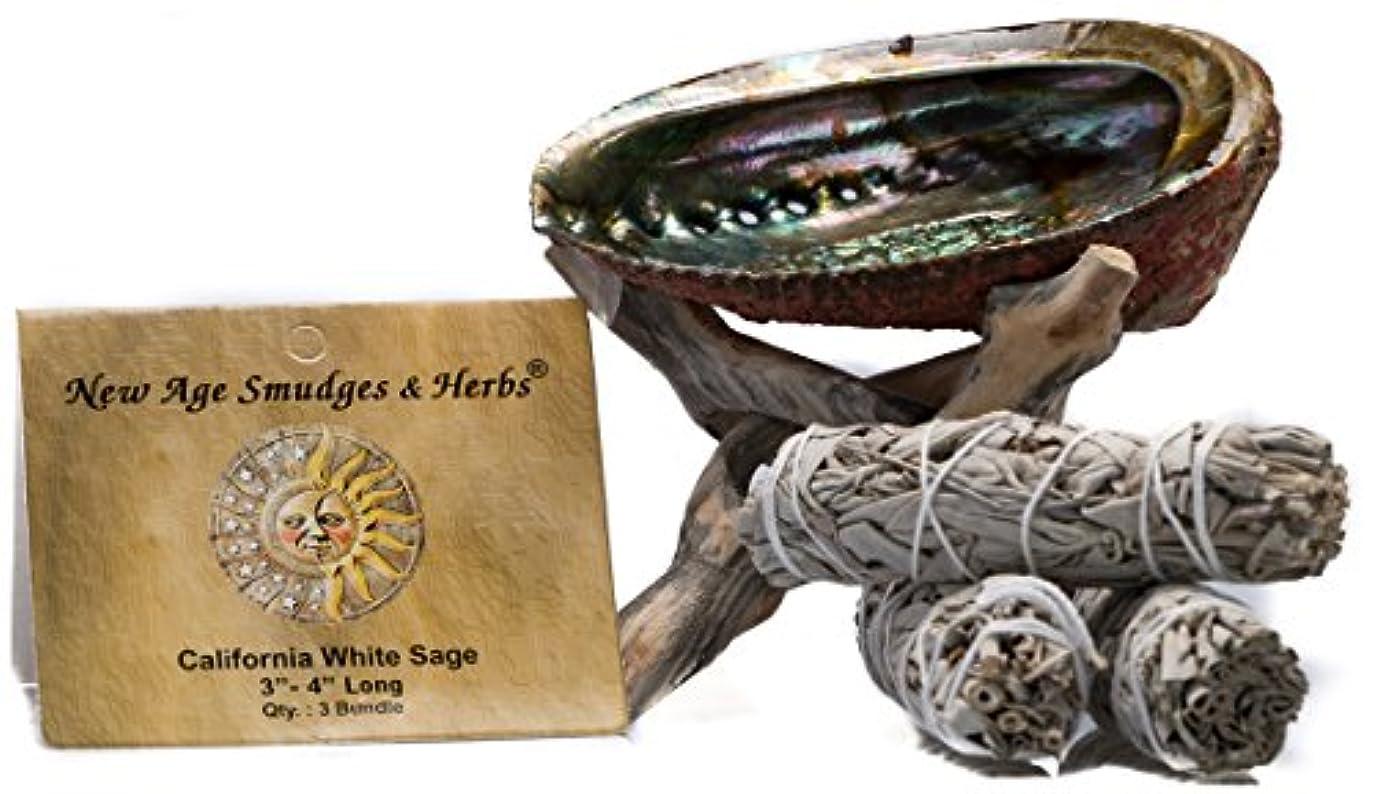 スマッジングキット - カリフォルニアホワイトセージ スマッジワンド 3本 (サルビア?アピアナ) 美しい自然の5インチ - 6インチ アバロンシェル 天然木製コブラ三脚スタンド付き - セージスティックの長さは4インチ