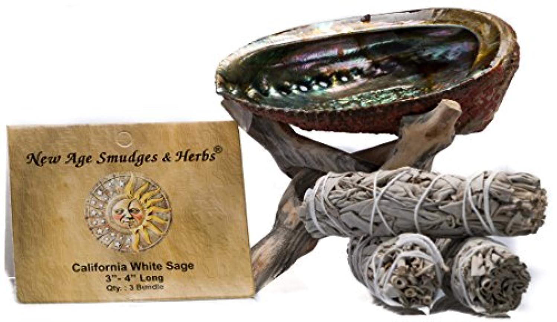 考慮メイエラ警報スマッジングキット - カリフォルニアホワイトセージ スマッジワンド 3本 (サルビア?アピアナ) 美しい自然の5インチ - 6インチ アバロンシェル 天然木製コブラ三脚スタンド付き - セージスティックの長さは4インチ