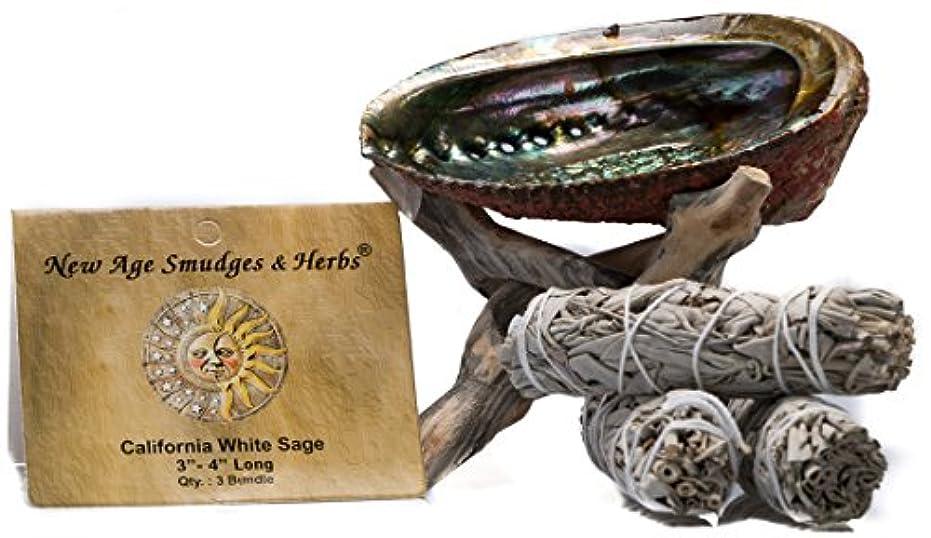 露地下社会科スマッジングキット - カリフォルニアホワイトセージ スマッジワンド 3本 (サルビア?アピアナ) 美しい自然の5インチ - 6インチ アバロンシェル 天然木製コブラ三脚スタンド付き - セージスティックの長さは4インチ