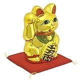 常滑焼 招き猫 黄金小判猫 右手 5号 座布団付き 金