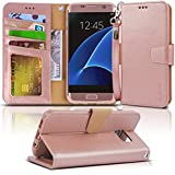 Galaxy S7 edge case, Arae [Wrist Strap] Flip Folio [Kickstand Feature] PU leather wallet case with ID&Credit Card Pockets For Samsung Galaxy S7 edge - rose gold