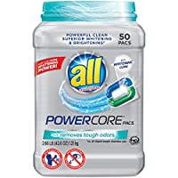All POWERCORE Super Concentrated Laundry Detergent Pacs Plus Removes Tough Odors Tub, 50 Count by all