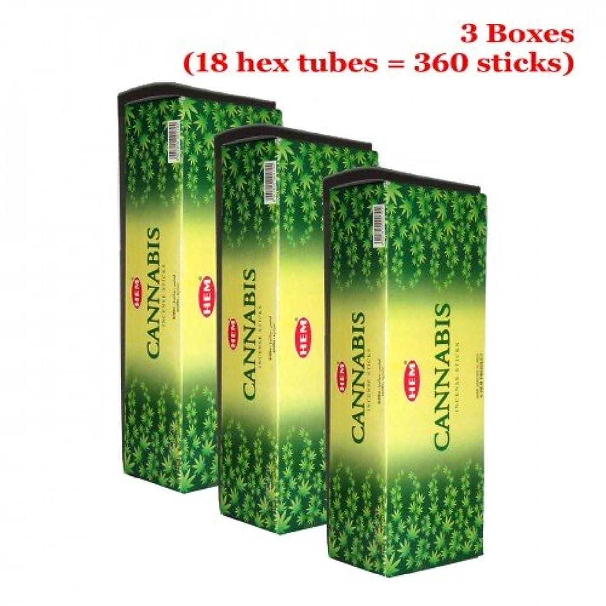 追い付くストライド湖Hem Cannabis 360一括Incense Sticks、3ボックス – ( 360 Sticksバルクper order )