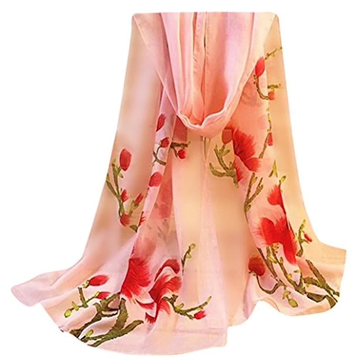謙虚入札発生するFeiscat ファッション レディース 花のプリント ショールのシフォンスカーフ