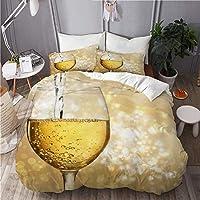 MOBEITI 布団カバー シングル 3点セット,白ワインとワイングラス, ベッド用 掛け布団 + 枕 カバー 洋式 和式兼用
