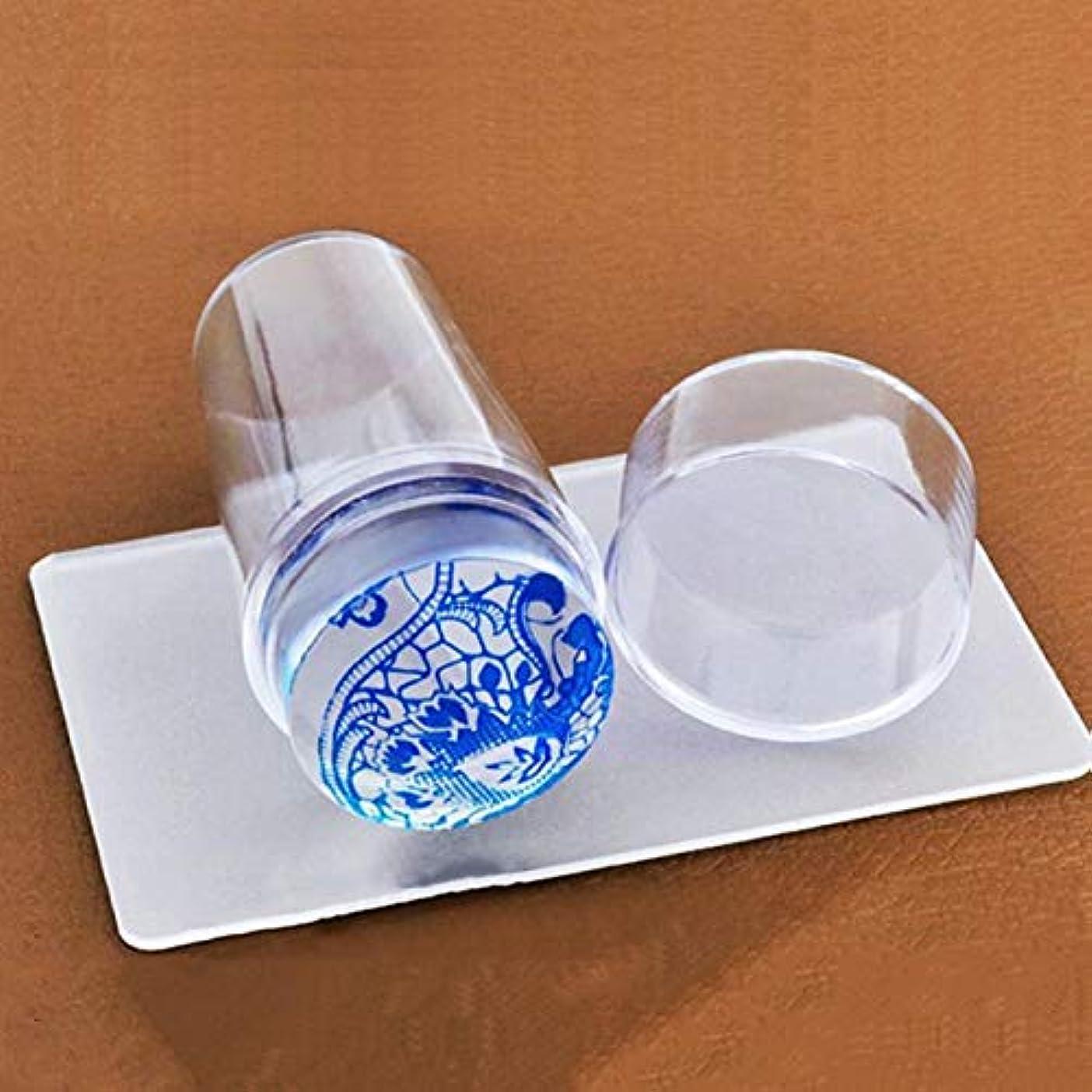 一目慣れる杭OU-Kunmlef 甘い透明なゼリーシリコーンネイルアートスタンパースクレーパーキャップ透明2.8 cm(None color)