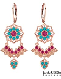Radiant Chandelier Earrings by Lucia Costin Crafted in 24K Pink Gold over .925 Sterling Silver with Fuchsia and...
