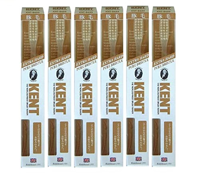 リングレットうれしいシフト【6本セット】KENT 豚毛歯ブラシ KNT-9433 ラージヘッド 超かため