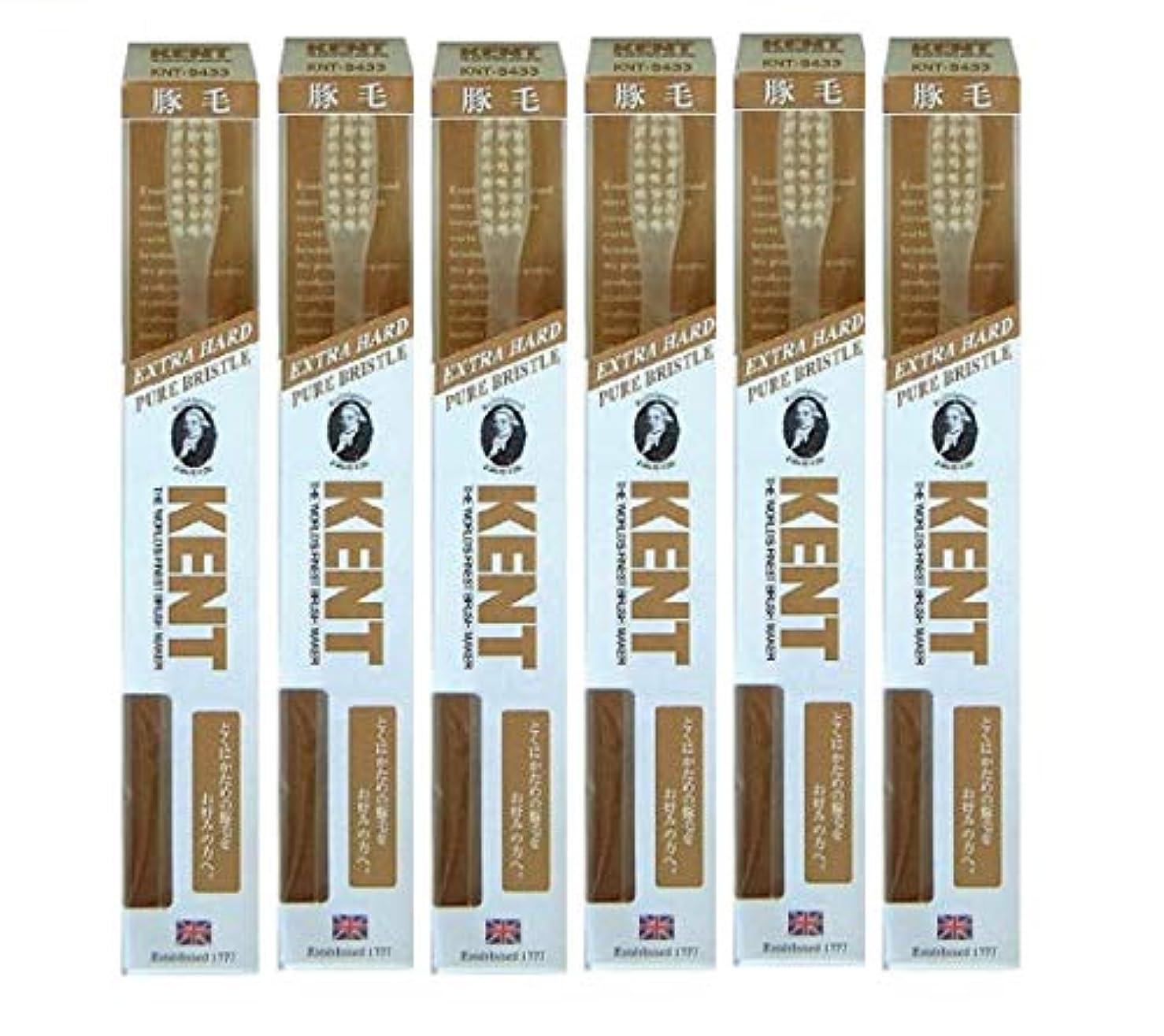 バンダンス一般的に【6本セット】KENT 豚毛歯ブラシ KNT-9433 ラージヘッド 超かため