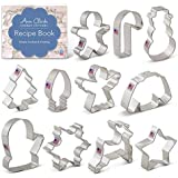 Ann Clark Cookie Cutters Christmas Cookie Cutter Set with Recipe Card - 11 Piece - Holiday Shapes Include: Snowflake, Christmas Tree, Candy Cane, Reindeer and More - USA Made Steel