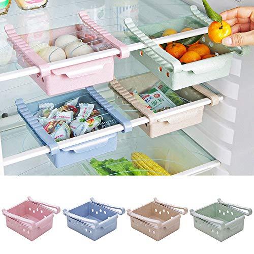 冷蔵庫 ストッカー 食品 収納 ラック プラスチック 収納ラック キッチン 収縮タイプ 引き出し 整理 調味料 収納 収納棚 収納ケース 引き出し キッチン ラック (グリーン)