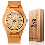 Cucol木製男性用時計カジュアルウォッチブラウン牛革レザーストラップwithボックス父の日ギフト スタイル3