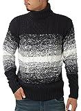 JIGGYS SHOP (ジギーズショップ) ニット セーター メンズ タートルネック ケーブル編み 厚手 長袖 防寒 ボーダー アメカジ S C グラデーションネイビー
