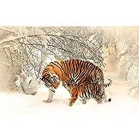 Ljjlm カスタム3D写真の壁紙リビングルームの壁画虎雪の上の背景3D絵画環境に優しい不織布の壁紙3D-120X100CM