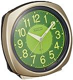 シチズン 目覚まし 時計 アナログ サイレントミグ638 暗所 ライト 自動 点灯 集光 文字板 金色 CITIZEN 8RE638-018