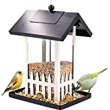 QYSZYG Outdoor Bird Automatic Feeder/Square Leak-Proof Bird Food Bowl/Metal Large-Capacity Bird Feeding Station/Black