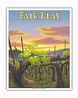 フェア・プレイ・ワイナリー - エル・ドラド郡 - シエラ・フットヒルズAVAブドウ園 - カリフォルニアワインカントリーアート によって作成された カーン・エリクソン - アートポスター - 41cm x 51cm