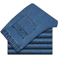 Howme-Men Washed Elastic Waist Pocket Plus Size Regular Fit Jean